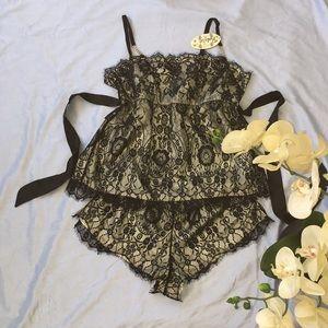 Black lace 2 pieces pajama